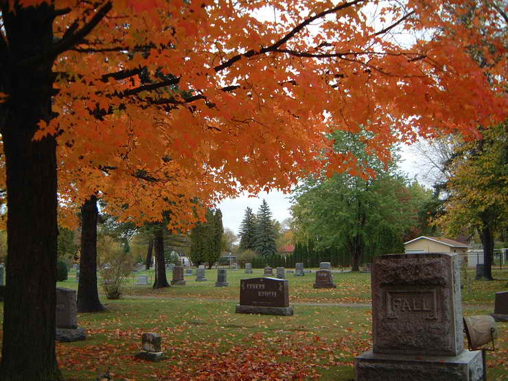 Evergreen Cemetery in the Fall