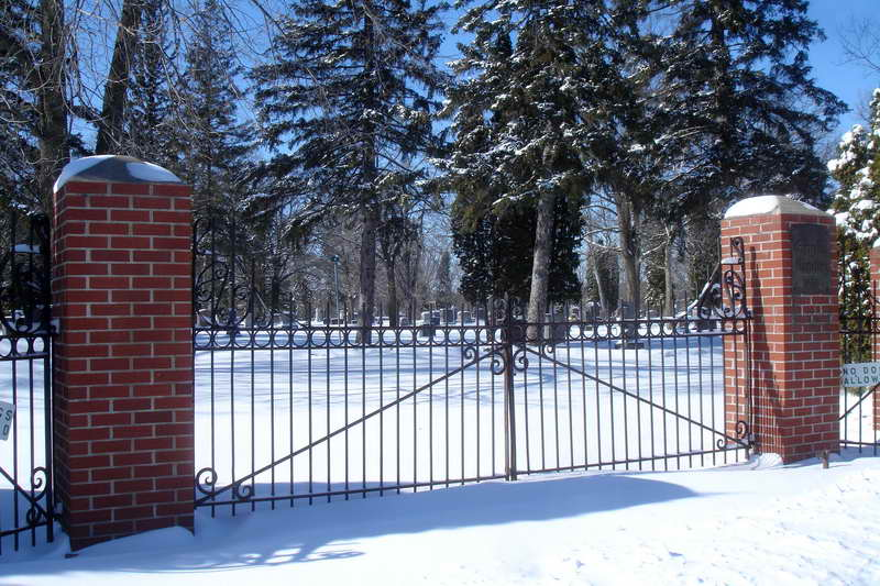 Evergreen Cemetery Entrance Gate in Wintertime